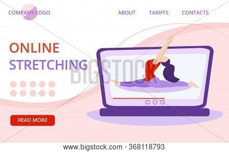 Vector Template For Stretching Lesson Landing Page With Girl On Yoga Mat. Illustration For Online Yo