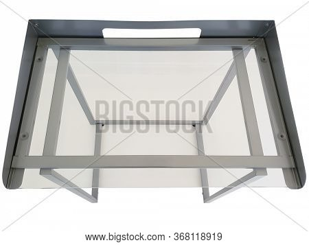 Top View Metal Laptop Desk with Glass Top with Clipping Path