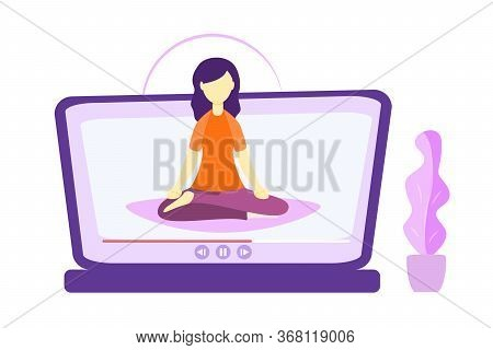 Online Yoga Relaxation Techniques Vector Illustration. Female Person Sitting In Yoga Lotos Position