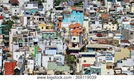 Cityscape Of Ho Chi Minh City. Vietnamese Architecture In High Density Residential Areas. Houses Are