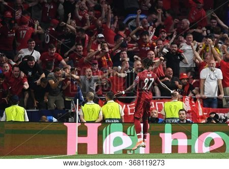 Madrid, Spain - June 1, 2019: Divock Origi Of Liverpool Celebrates In Front Of The Fans After He Sco