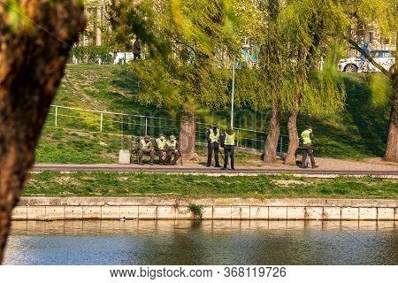 Kyiv Ukraine - April 17 2020: World Epidemic Of Coronavirus. Police Officers And The National Guard