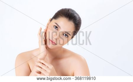 Closeup Beautiful Woman Asian Makeup Of Cosmetic, Girl Hand Touch Cheek And Smile Attractive, Face O