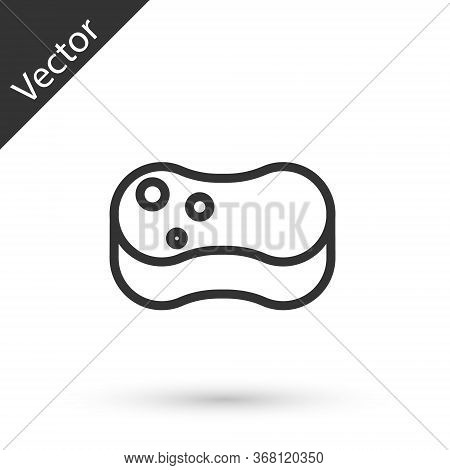 Grey Line Sponge Icon Isolated On White Background. Wisp Of Bast For Washing Dishes. Cleaning Servic