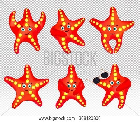 Starfish On Transparent Background. Starfish With Sunglasses. Collection Sea Star. Cartoon Character