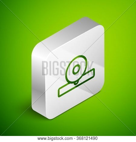 Isometric Line Otolaryngological Head Reflector Icon Isolated On Green Background. Equipment For Ins