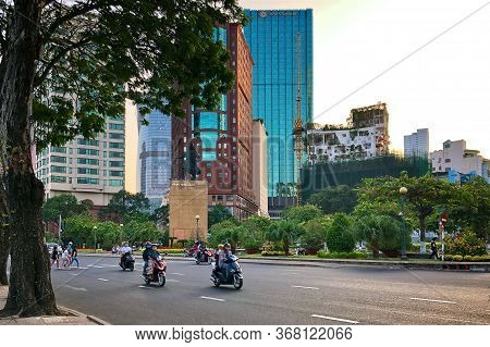 Ho Chi Minh City, Vietnam - February 9, 2019: Cityscape Of Ho Chi Minh City. Monument To The 13Th Ce