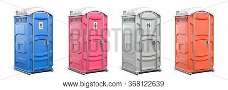 Portable plastic toilet or public facilities of different colors isolated on white. 3d illustration