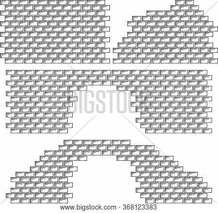 Black and white graphic image of a brick wall and ruins with a linear texture. A set of four objects. Background with brick texture, design template for web layout, poster, banner. Hand drawn, vector