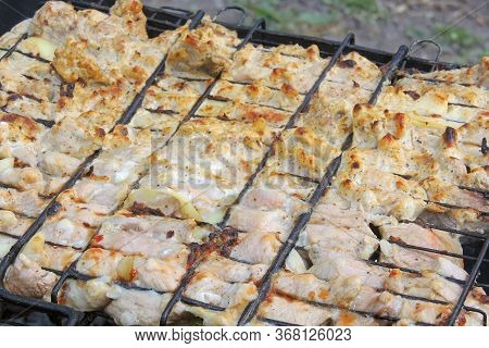Grilled Sausages At The Stake