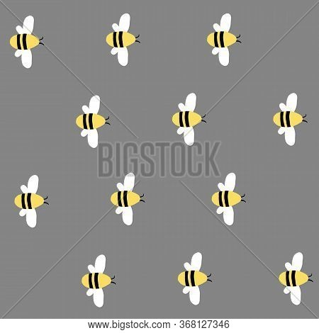 Simple Seamless Gray Vector Repeat Bumble Bee Pattern.