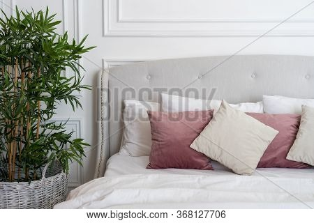 Fragment Of Soft Cozy Bed In Modern Bedroom With Soft Pillows, Blanket And Green Plant In Flowerpot.