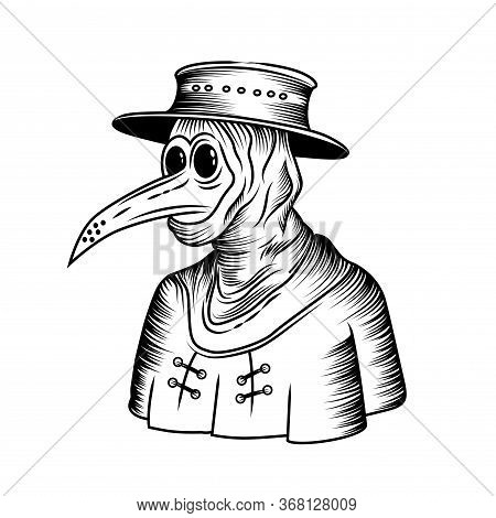 The Black Death - A Medieval Plague Doctor Line Engraving Drawing Vector Illustration.
