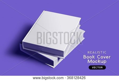 Blank Book Cover Mockup Design Layout With Shadows For Branding. Vector Illustration.
