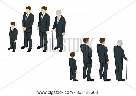 Isometric Men And A Child In Black Clothes. Gre, Grief, Loss Of Loved Ones, Funeral.