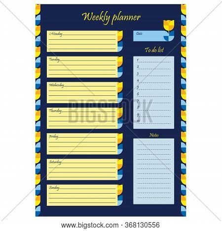 Weekly Affairs Planner Template. Blank Page With Ornament And Flowers On A Blue Background. A Sheet