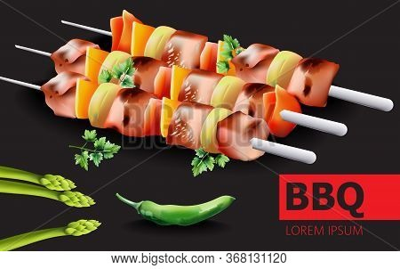 Composition That Consists Of Barbeque , Hot Green Pepper, Asparagus And Parsley With Place For Text