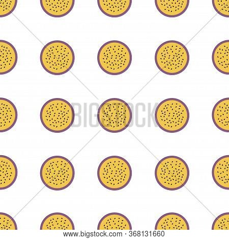Cutted Maracuja Icon. Cartoon Of Cutted Maracuja Vector Icon For Web Design Isolated On White Backgr
