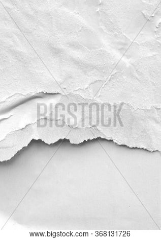 White Paper Ripped Torn Background Blank Creased Crumpled Posters Placard Grunge Textures Surface Ba