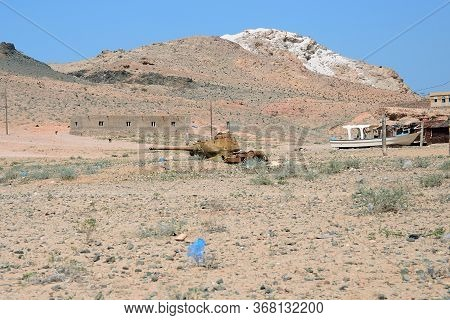 Rusty Soviet Battle Tank T-34 In Qalansiya Village. Lagoon Detwahat The Socotra Island, Yemen