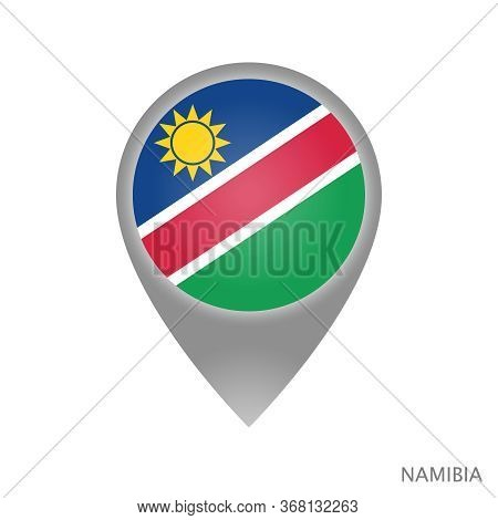 Map Pointer With Flag Of Namibia. Colorful Pointer Icon For Map. Vector Illustration.