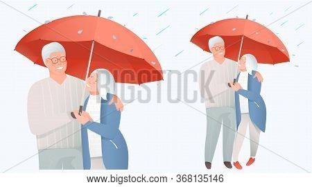 Elderly Retired Couple Support And Protection, Insurance Concept. Medical Support And Safety For Mat