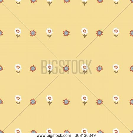 Tiny Flowers On Yellow Background. Seamless Tiny Vintage Flower Pattern. Repeating Flowers On A Yell