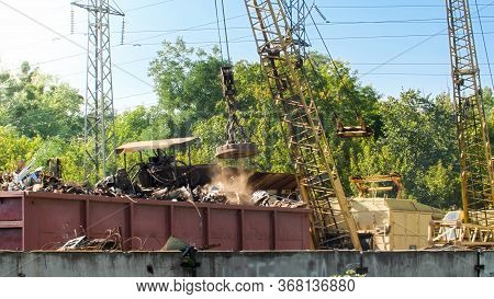 Image Of Junkyard With Old Metal Waste In Industrial Zone
