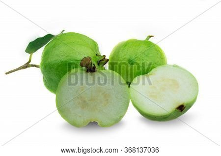Fresh Seedless Guava Fruit With Leaf A Half With Leaves At White Background