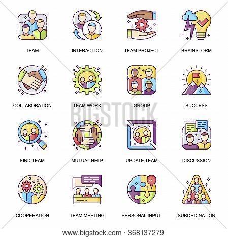 Teamwork Flat Icons Set. Team Meeting, Personal Input, Mutual Help, Work Team Collaboration And Brai