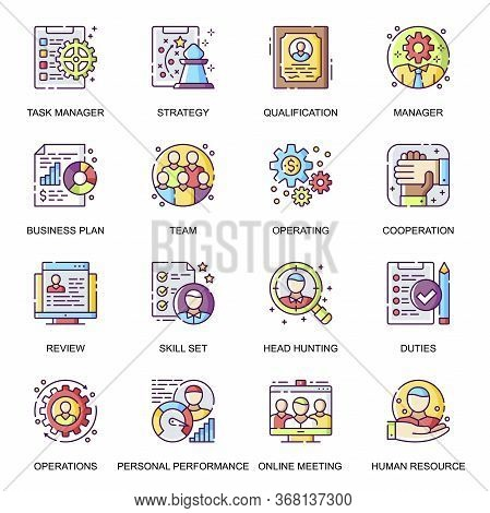 People Management Flat Icons Set. Skills And Qualification, Online Meeting, Team Cooperation, Person