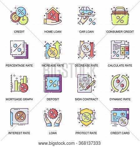 Credit And Loan Flat Icons Set. Car Loan, Mortgage Graph, Credit Card, Bank Deposit, Consumer Credit