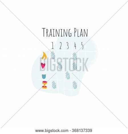 Modern Training Plan Workout. Cell Phone Logo For Stay Home And Doing Sport. Isolated Vector Illustr
