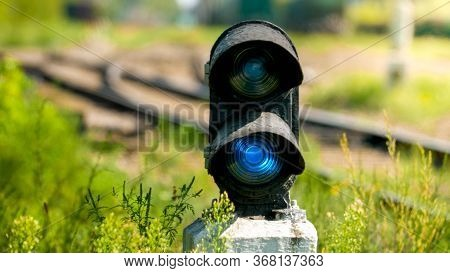 Photo Of Blue Traffic Light Or Semaphor On The Railroad
