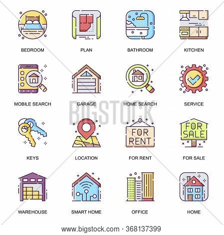 Real Estate Flat Icons Set. Bedroom, Bathroom And Kitchen, Rent And Sale Service, Smart Home, Reside