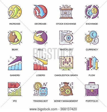 Stock Quotes Flat Icons Set. Bear And Bull Market Trends, Currency Exchange, Stock Trading Bot, Incr