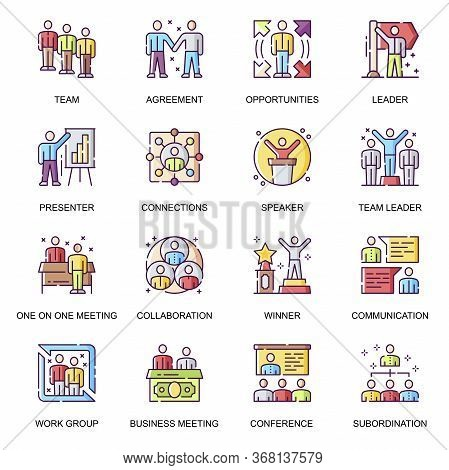 Business People Flat Icons Set. Team Collaboration, Presentation And Conference, Work Group Subordin