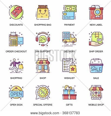 E-commerce Flat Icons Set. Special Offer, Shopping Bag, Order Checkout And Shipping, 24h Customer Su