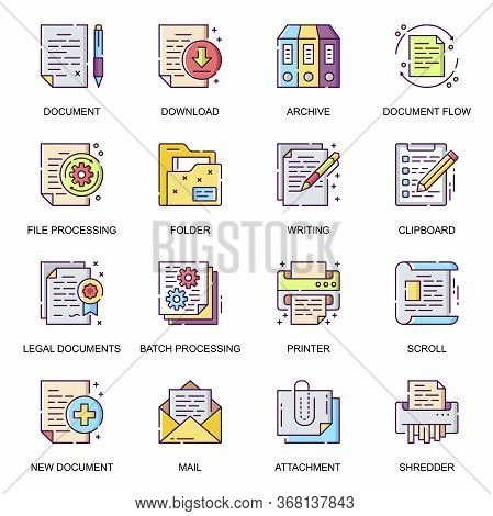 Business Documents Flat Icons Set. Batch Processing, Legal Documents, Archive, File Download, Shredd