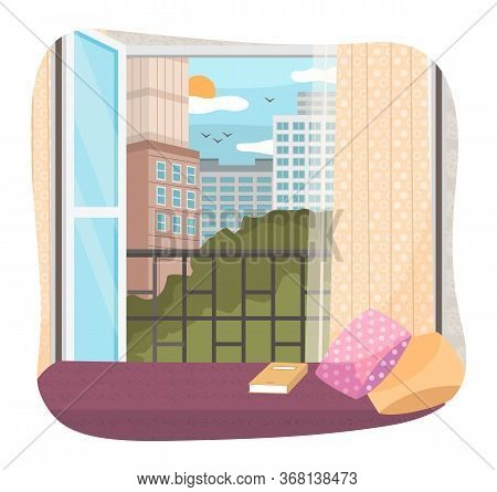Illustration Of A Window With A View Of The Tall Buildings. Opened Window And Cities Landscape Look.
