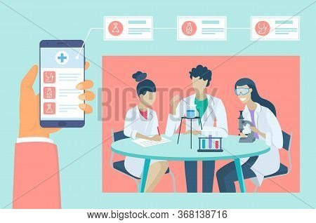 Health And Medical Consultation Application On Smartphone. Online Medical Consultation And Lab Test