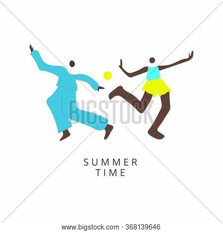 Flyer Or Poster For A Summer Dance Party. African Man And Woman In Summer Clothes Dancing In The Bac