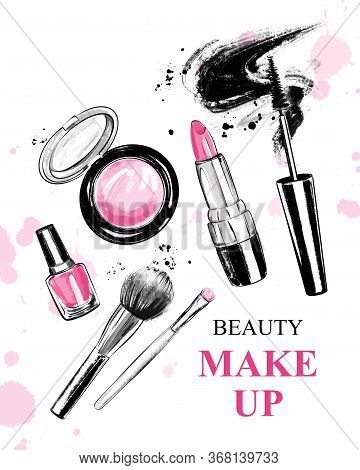 Hand Drawn Set With Lipstick, Brushes, Mascara, Nail Polish, Powder Blush And Bow. Beautiful Set Wit