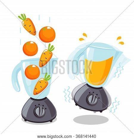 Organic Raw Carrot And Orange Shake. Food