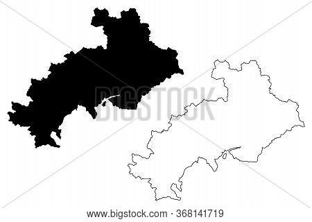 Hautes-alpes Department (france, French Republic, Provence-alpes-cote Dazur Region) Map Vector Illus