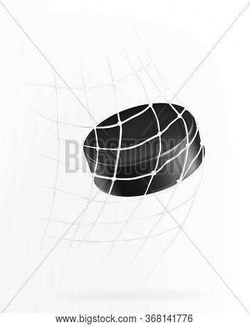 Ice Hockey Game With Hockey Puck Flies Into Goal Net, 3d Realistic Vector Illustration. Flying Hard