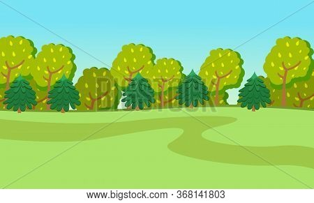 Spring Or Summer Season Cartoon Country Landscape With Green Fields, Road Leading Along The Forest.