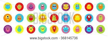 Happy Halloween. Monster Colorful Silhouette Super Big Round Icon Set. Cute Kawaii Cartoon Scary Fun
