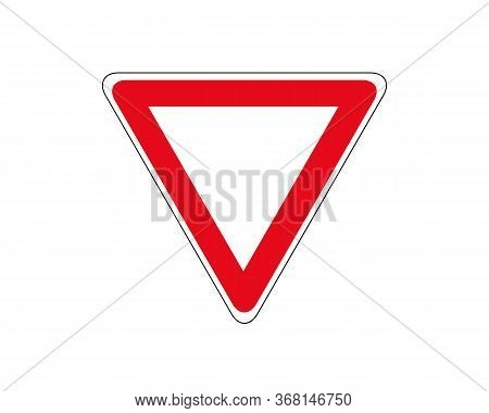 Road Sign. Give Right Of Way. Vector Illustration.