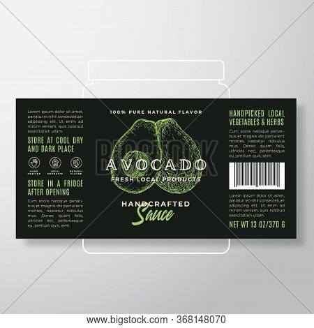 Handcrafted Vegetables And Herbs Sauce Label Template. Abstract Vector Packaging Design Layout. Mode